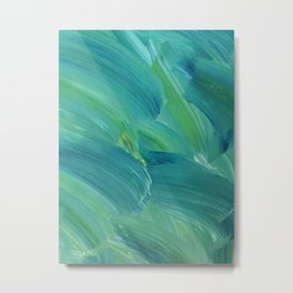 Blue-Green Brush Strokes Metal Print