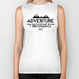 """Adventure is Worthwhile"" Type Design Biker Tank"
