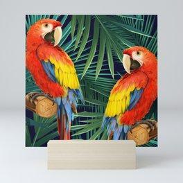 Macaws In Palms Mini Art Print