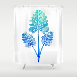 Tropical Palm Leaf Trifecta – Blue Ombré Palette Shower Curtain