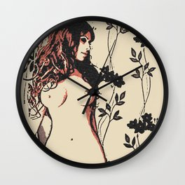 Hourglass, perfect curves, erotic nude, sexy girls body, naked woman artwork, sweet redhead topless Wall Clock