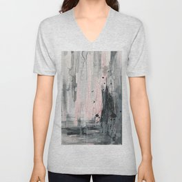 Soft Pink Abstract Unisex V-Neck