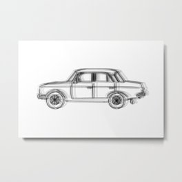 USSR Car Drawing Metal Print
