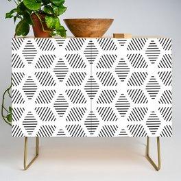 Geometric Line Lines Diamond Shape Tribal Ethnic Pattern Simple Simplistic Minimal Black and White Credenza