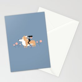corgi ride Stationery Cards