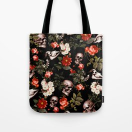 Floral and Skull Dark Pattern Tote Bag