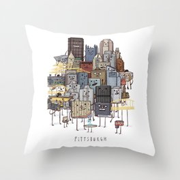 Pittsburgh Skyline group picture- art print Throw Pillow