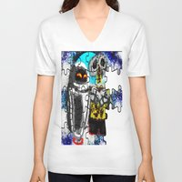 wall e V-neck T-shirts featuring Puzzle me Wall-e  by grapeloverarts