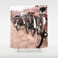 bikes Shower Curtains featuring Amsterdam Bikes by Ann Yoo