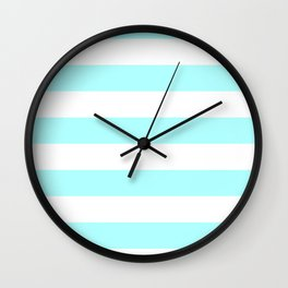 Horizontal Stripes - White and Celeste Cyan Wall Clock