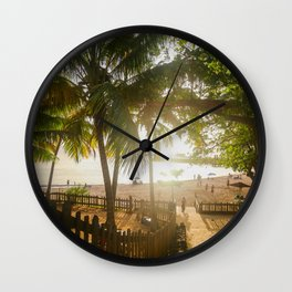 Sunset Behind Palm Trees Wall Clock