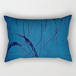 Navy Blue - Jackson Pollock Style - Modern Rectangular Pillow