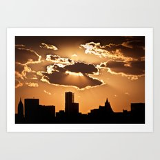 Sunset over NYC Art Print