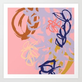 Abstract Sumi Ink #2 in Summer Color Palette Art Print
