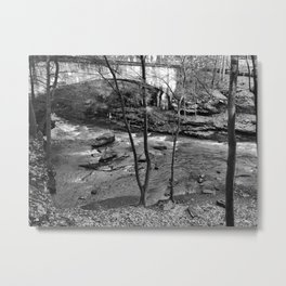 Bridge and stream black and white Metal Print