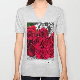 Romantic Bouquet Of Red Roses Unisex V-Neck