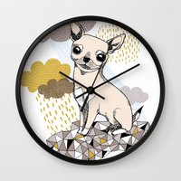 chihuahua Wall Clocks featuring Chihuahua by Camille Roy