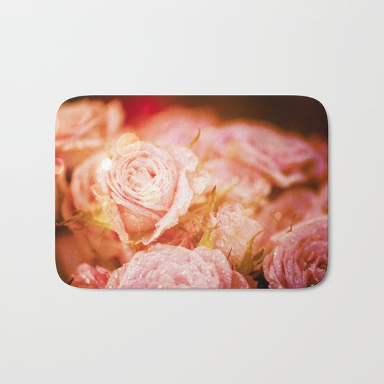 Roses with waterdroplets and bokeh Bath Mat