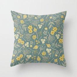 Yellow, Cream, Gray, Tan & Blue-Green Floral Pattern Throw Pillow