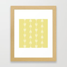 Running Arrows in White and Yellow Framed Art Print