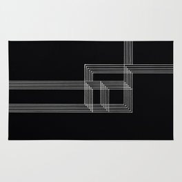 Squares and Lines No. 03 Black Rug