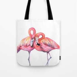 Two Flamingos in Love Tote Bag
