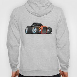30's Street Rod with Classic Hot Rod Flames Cartoon Hoody