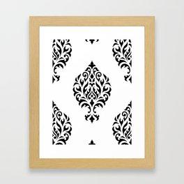 Orna Damask Pattern Black on White Framed Art Print