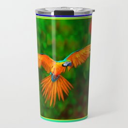 Decorative Flying Golden Blue Macaw Parrot  Black Green  Art Travel Mug