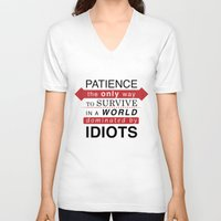 typo V-neck T-shirts featuring Patience Typo by gac714