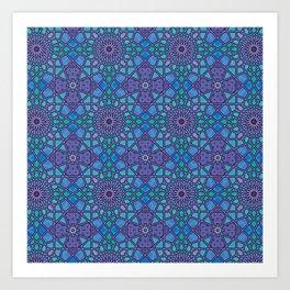Geometric Shape Pattern in Blue Purple and Green Art Print