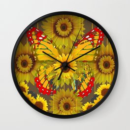 MODERN GREY-RED BUTTERFLY SUNFLOWERS TAPESTRY  ART Wall Clock
