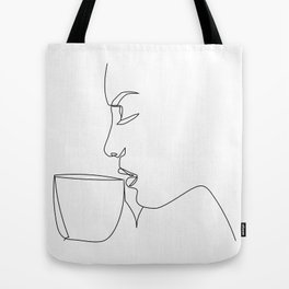 """Profile Collection"" - Woman Drinking Coffee Tote Bag"