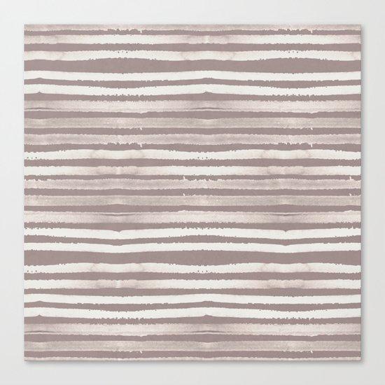 Simply Shibori Stripes Lunar Gray and Red Earth Canvas Print