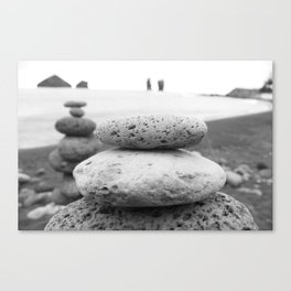 Rock Stacking Black and White Canvas Print