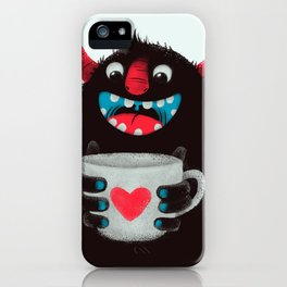Demon with a cup of coffee (contrast) iPhone Case