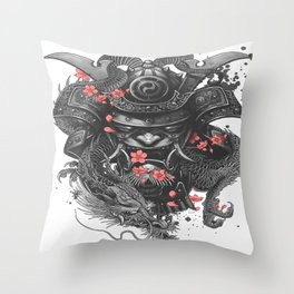 Sleeve tattoo Samurai Irezumi Throw Pillow