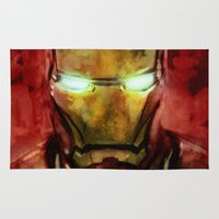 iron man Area & Throw Rugs featuring Iron Man by SachsIllustration
