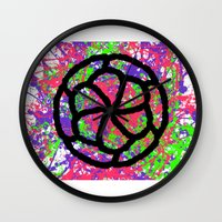 graffiti Wall Clocks featuring Graffiti by Rosemetamorphosis