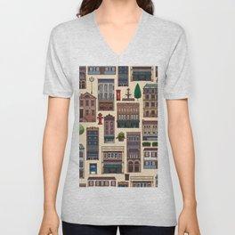 Vintage white brown architecture town pattern Unisex V-Neck