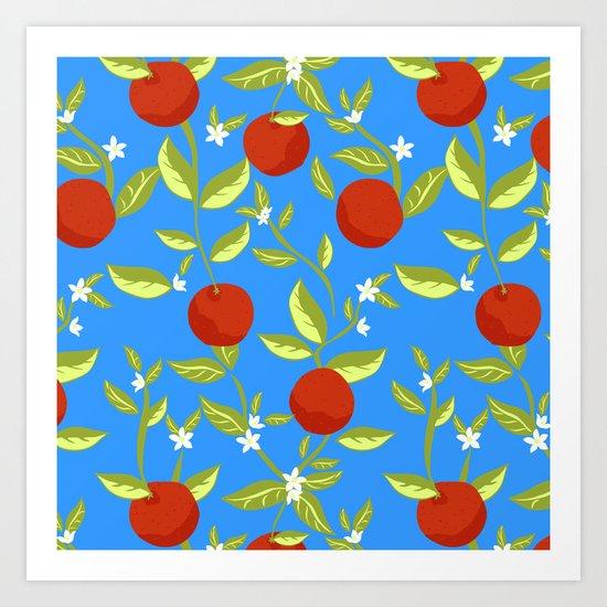 Orange Grove Pattern Art Print