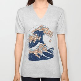 The Great Wave of Chihuahua Unisex V-Neck