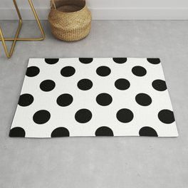 Large Polka Dots - Black on White Rug
