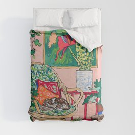 Napping Tabby Cat in Cane Chair in Pink Room with Horse Painting Comforters