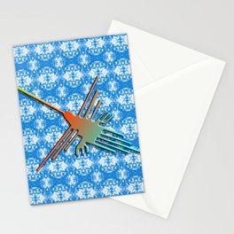 Nazca Lines Hummingbird On Abstract Background Stationery Cards
