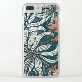 Stylized aster flowers Clear iPhone Case