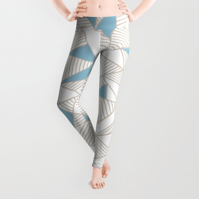 Ab Nude Lines with Blue Blocks Leggings