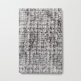 houndstooth texture on scribble in black and white Metal Print
