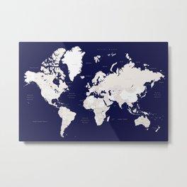 "Navy blue and cream world map, ""Austin"" Metal Print"