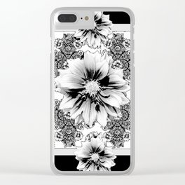 Black & White Geometric Floral Clear iPhone Case